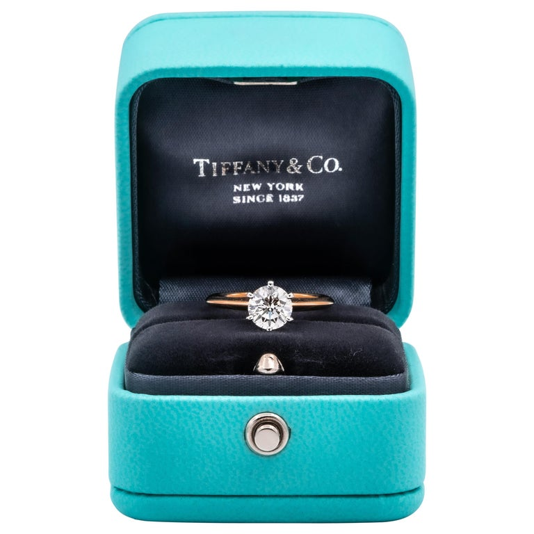Tiffany & Co. Solitaire 1.14 Carat IVS2 Center in Platinum and 18 Karat Gold