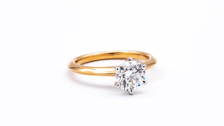 Modern Tiffany & Co. Solitaire 1.14 Carat IVS2 Center in Platinum and 18 Karat Gold