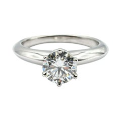 Tiffany & Co. Solitaire Diamond Engagement Ring 1.03 Ct. EVS1 Round in Platinum