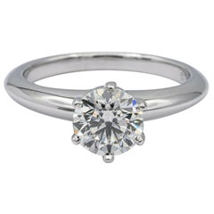 Tiffany & Co. Solitaire Diamond Engagement Ring 1.08 Ct IVS1 Round in Platinum