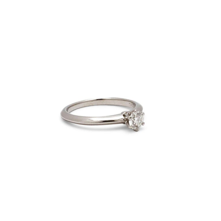 Round Cut Tiffany & Co. Solitaire Diamond Engagement Ring For Sale