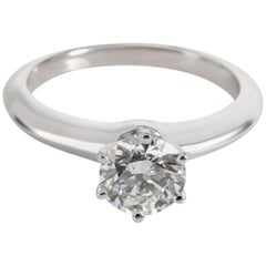 Tiffany & Co. Solitaire Diamond Engagement Ring in Platinum 0.97 Carat G/VVS1