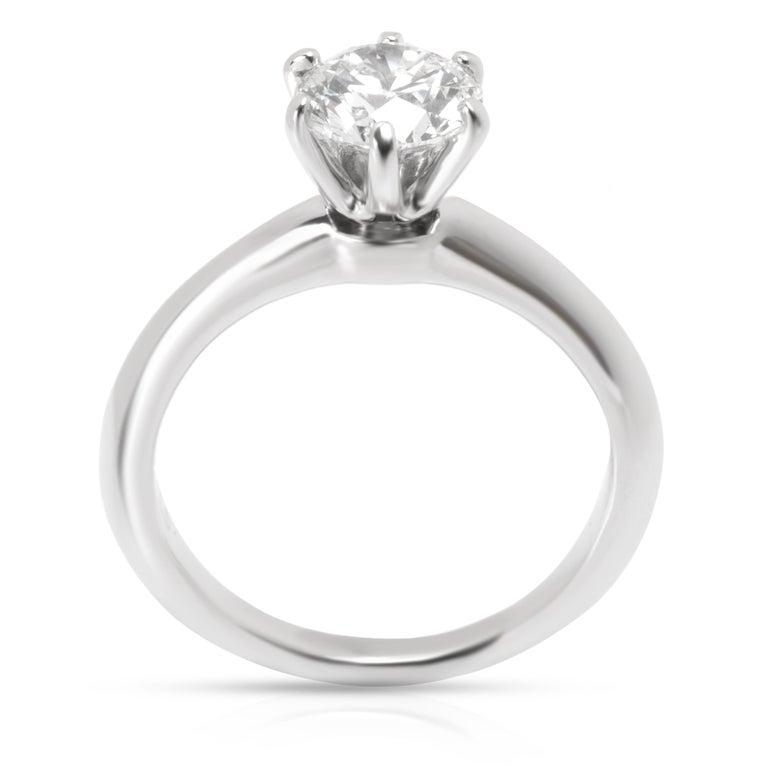 Round Cut Tiffany & Co. Solitaire Diamond Engagement Ring in Platinum '1.10 Carat I/VS2'