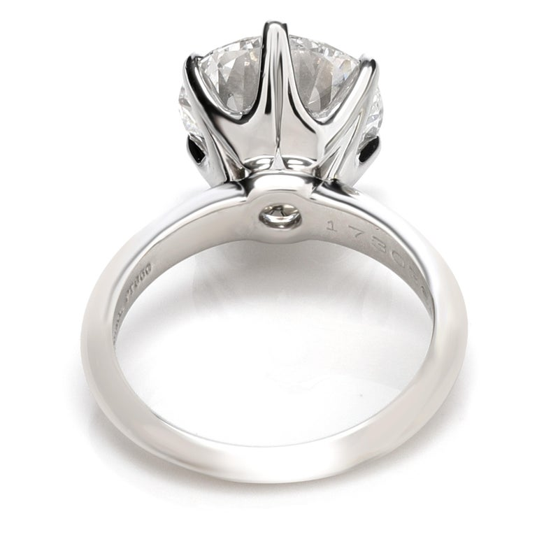 Women's Tiffany & Co. Solitaire Diamond Engagement Ring in Platinum D VS1 5.02 Carat For Sale