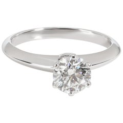 Tiffany & Co. Solitaire Diamond Engagement Ring in Platinum G IF 0.92 Carat