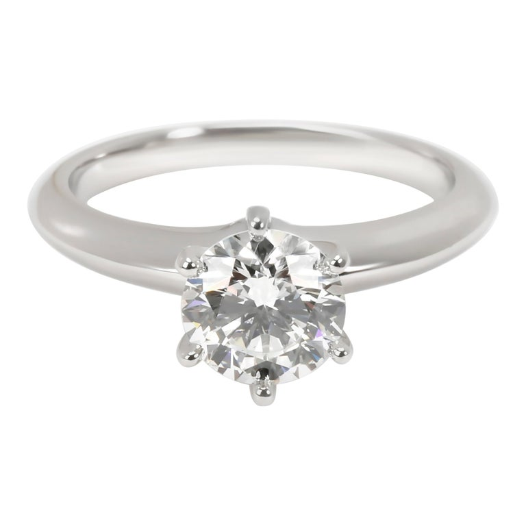Tiffany & Co. Solitaire Diamond Engagement Ring in Platinum H VS1 1.02 CTW