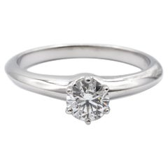 Tiffany & Co. Solitaire Engagement Ring .53 Ct IVS1 in Platinum Excellent Cut