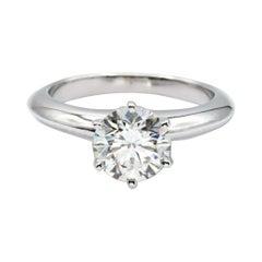 Tiffany & Co. Solitaire Engagement Ring Round 1.36ct Center GVS1 Platinum
