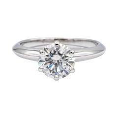 Tiffany & Co. Solitaire Engagement Ring w/Round 1.29 Ct Center HVS2 Platinum