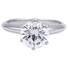Tiffany & Co. Solitaire Ring with Round 1.64 Carat Center I VS2 in Platinum