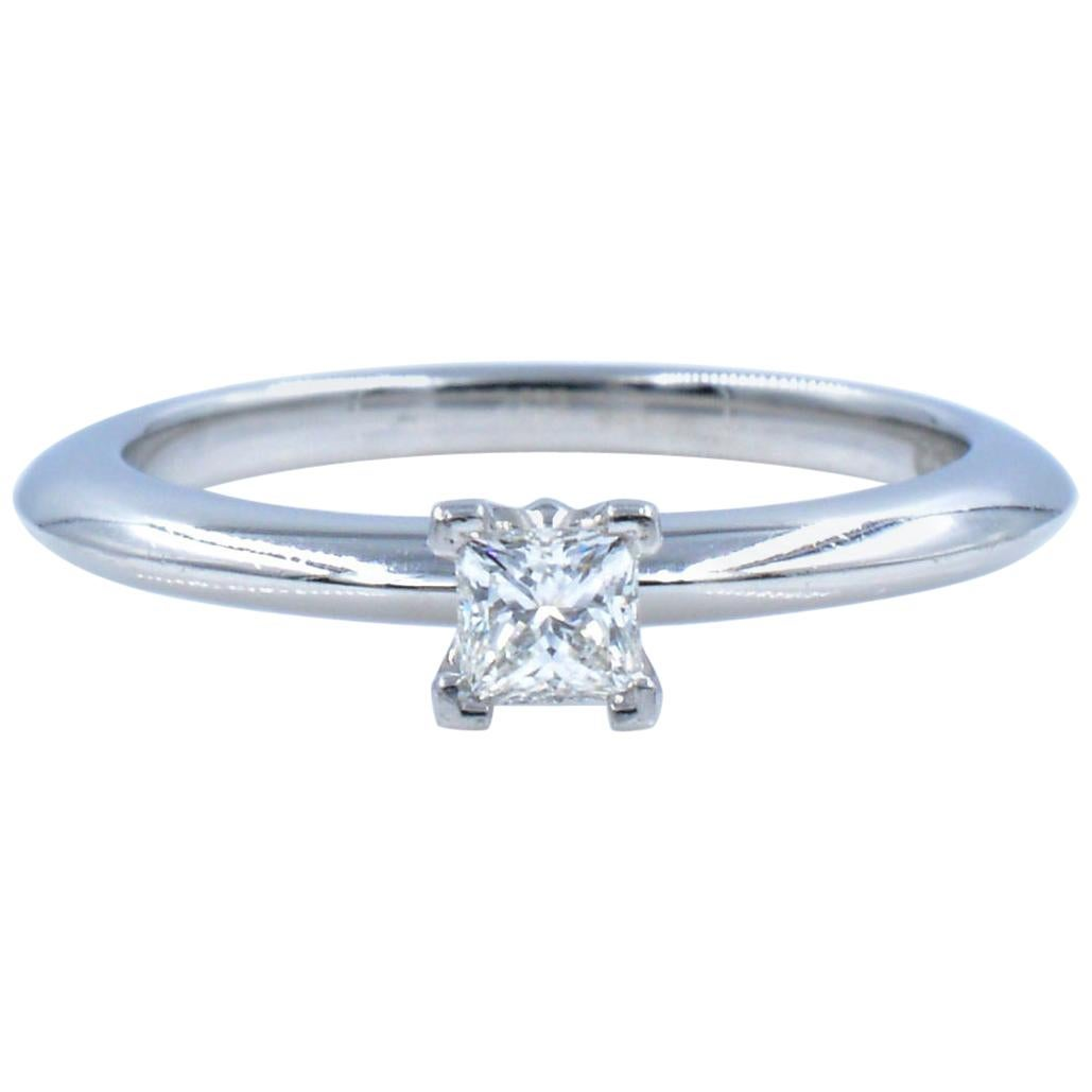 Tiffany & Co Solitaire Princess Cut Diamond Engagement Platinum 0.10 Carat