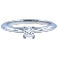 Tiffany & Co Solitaire Princess Cut Diamond Engagement Platinum 0.10 Carat