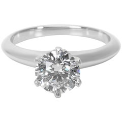 Tiffany & Co. Solitaire Ring in Platinum with Diamonds GIA Certified 1.17 Carat