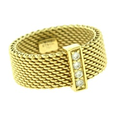 Tiffany & Co. Somerset 18 Karat Yellow Gold and Diamond Mesh Ring