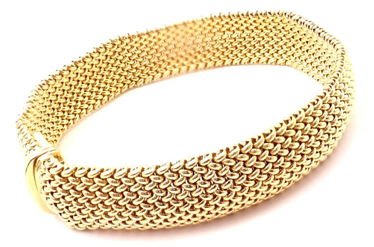 18k Yellow Gold Somerset Mesh Bracelet by TIffany & Co. Details:  Length: 7.5
