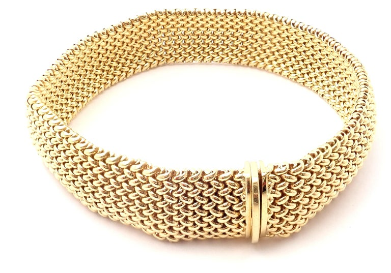 Tiffany & Co. Somerset Mesh Yellow Gold Bracelet In Excellent Condition For Sale In Holland, PA