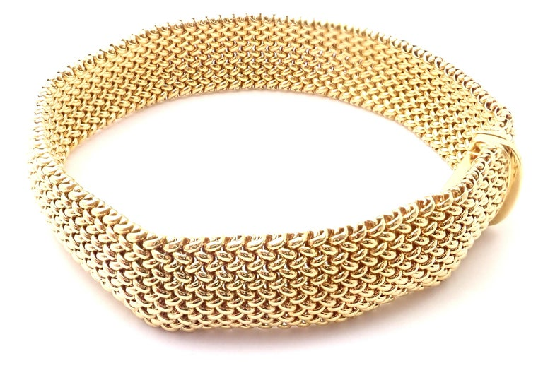 Women's or Men's Tiffany & Co. Somerset Mesh Yellow Gold Bracelet For Sale