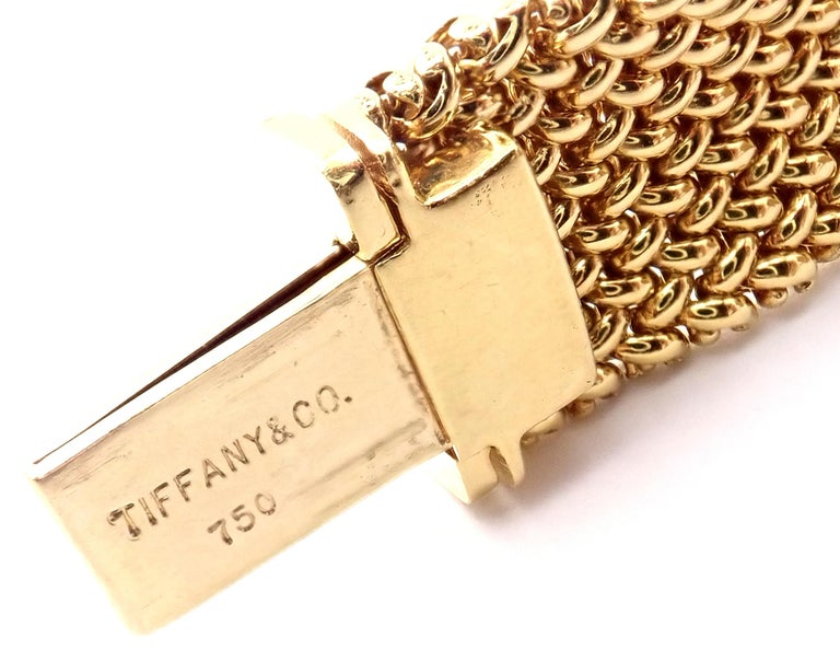Tiffany & Co. Somerset Mesh Yellow Gold Bracelet For Sale 3
