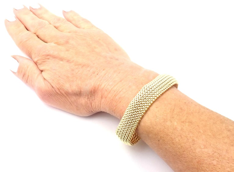 Tiffany & Co. Somerset Mesh Yellow Gold Bracelet For Sale 5
