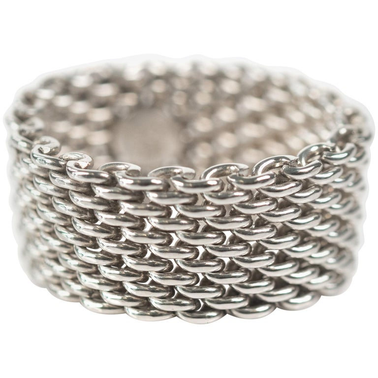 5ede6e18d Tiffany and Co. Somerset Sterling Silver Mesh Chain Link Ring at 1stdibs