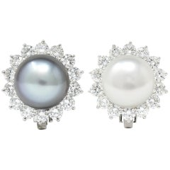 Tiffany & Co. South Sea Pearl 4.50 Carat Diamond Platinum Cluster Earrings