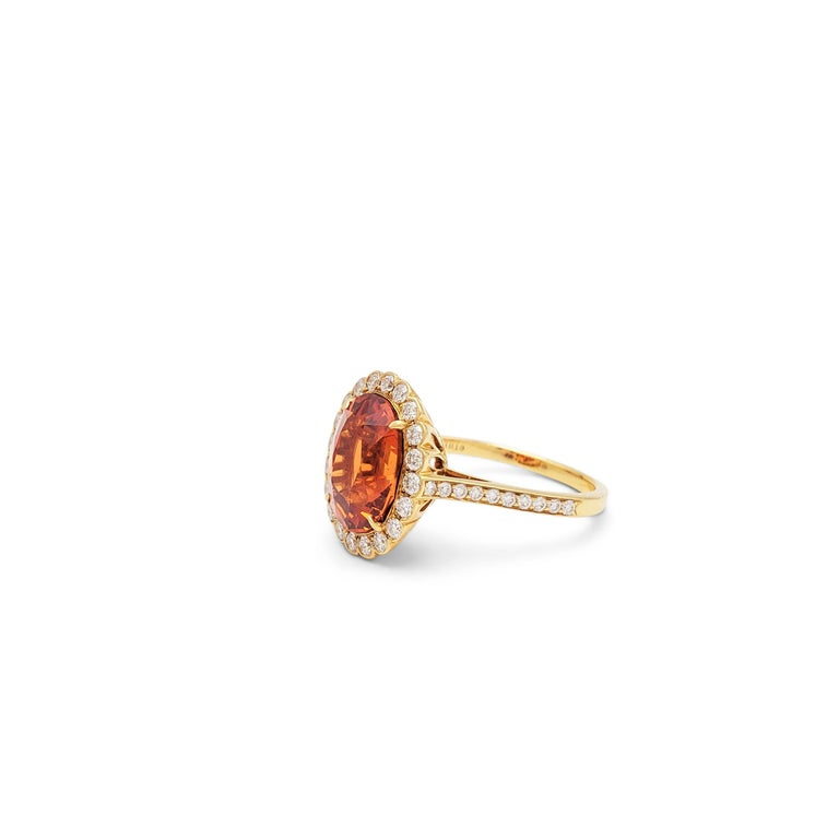 Round Cut Tiffany & Co. Spessartite Garnet and Diamond Ring For Sale