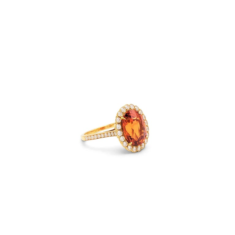 Tiffany & Co. Spessartite Garnet and Diamond Ring In Excellent Condition For Sale In New York, NY