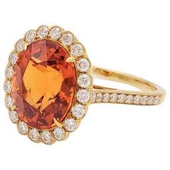 Tiffany & Co. Spessartite Garnet and Diamond Ring