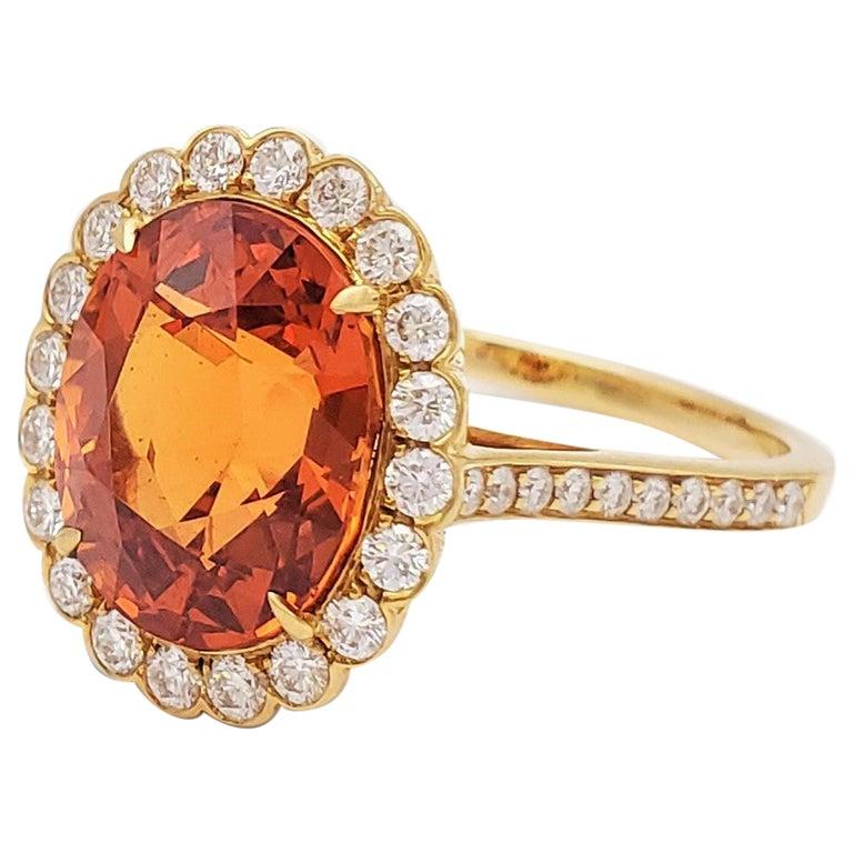 Tiffany & Co. Spessartite Garnet and Diamond Ring For Sale