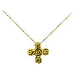 Tiffany & Co. Spiro Swirl Rosebud Cross 18k Yellow Gold Vintage Pendant Necklace