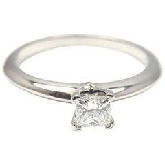 Tiffany & Co. Square Diamond Platinum Engagement Ring