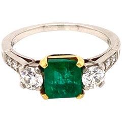 Tiffany & Co. Square Emerald Diamond Estate Ring 18 Karat Two-Tone Gold