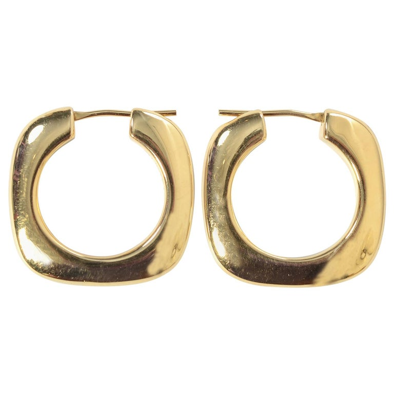 Tiffany & Co. Square Hoop Gold Earrings For Sale