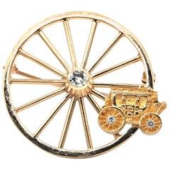 Tiffany & Co. Stagecoach Wheel Motif Gold Brooch