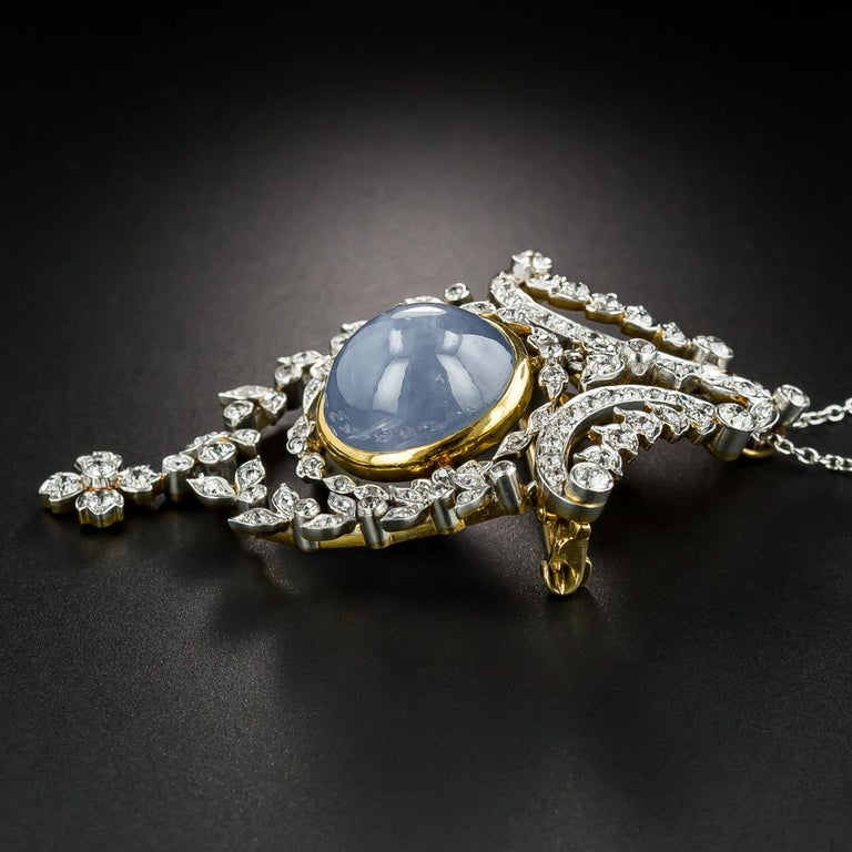 Belle Époque Tiffany & Co. Star Sapphire and Diamond Pendant/Brooch For Sale