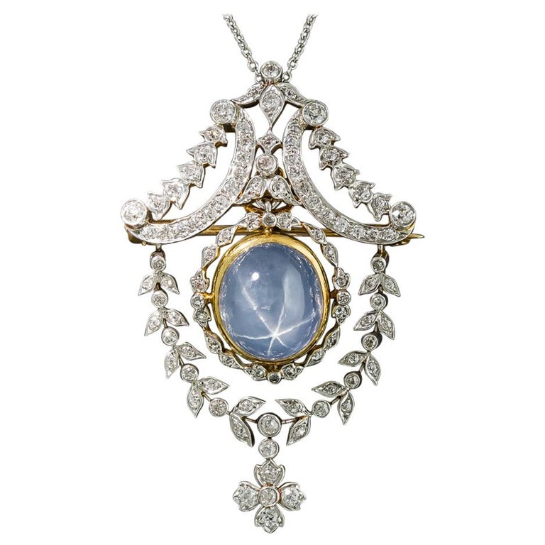 Tiffany & Co. Star Sapphire and Diamond Pendant/Brooch For Sale