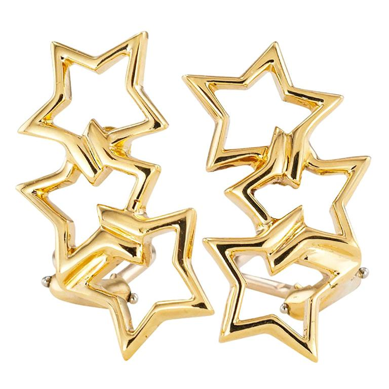 Tiffany & Co. Star Shaped Yellow Gold Clip On Earrings