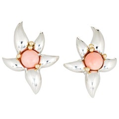 Tiffany & Co. Starfish Earrings Vintage 1993 Coral Silver 18 Karat Gold Jewelry