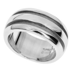 Tiffany & Co. Sterling 925 Silver 1995 Double Line Band Ring