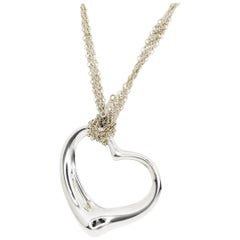 Tiffany & Co. Sterling 925 Silver Open Heart Mesh Chain Pendant Necklace