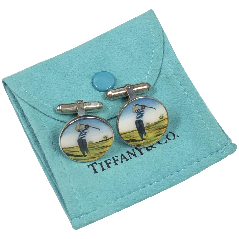Tiffany & Co. Sterling and Enamel Golf Cufflinks