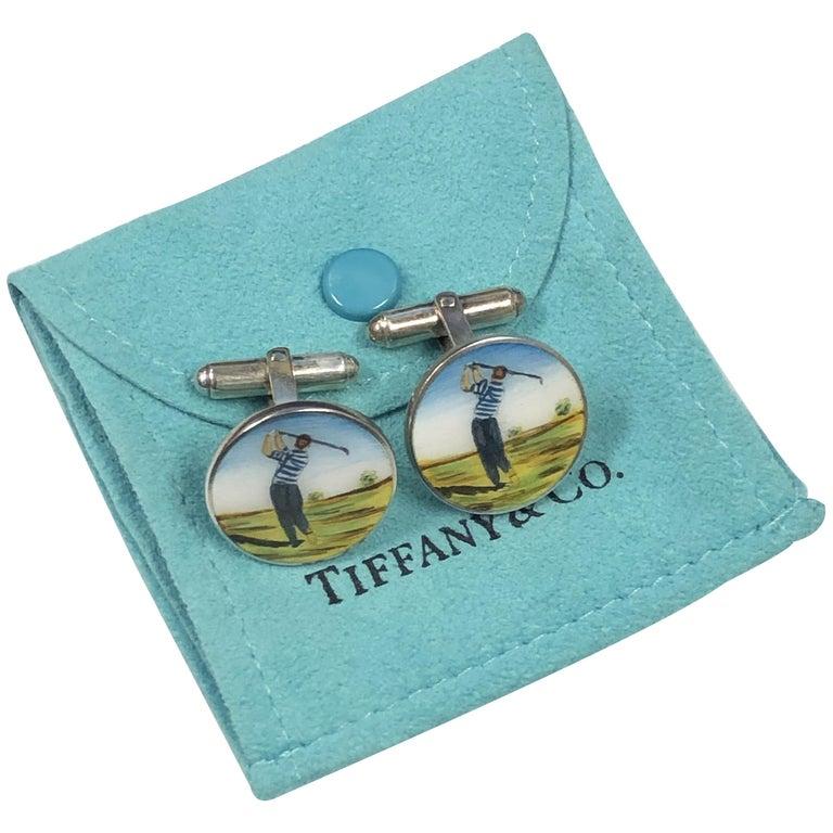Tiffany & Co. Sterling and Enamel Golf Cufflinks For Sale