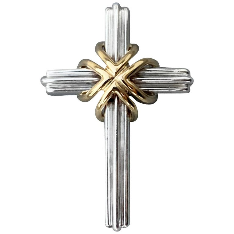 Tiffany & Co. Sterling and Gold Cross For Sale