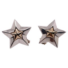Tiffany & Co. Sterling and Gold Star Earrings
