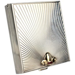 Tiffany & Co. Sterling Gold and Ruby Mid-Century Modern Square Compact