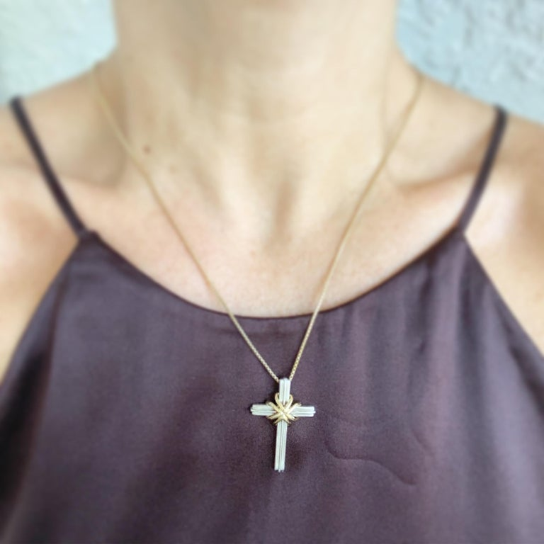 Tiffany & Co. Sterling and Gold Cross For Sale 2