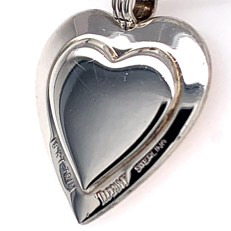 Tiffany & Co. Sterling and Gold Heart Pendant In Excellent Condition For Sale In New York, NY