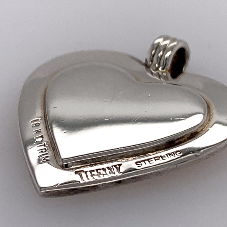Tiffany & Co. Sterling and Gold Heart Pendant For Sale 1