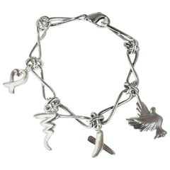 Tiffany & Co. Sterling Paloma Picasso Charm Bracelet Dove Heart Kiss