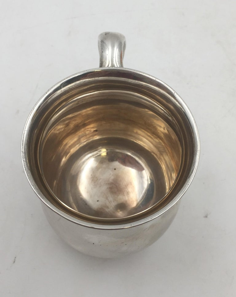 American Tiffany & Co. Sterling Silver 1904 Christening Cup Child Mug For Sale